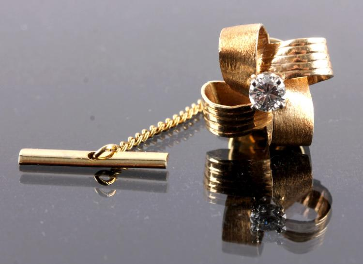 14K Gold and Diamond Tie Tack