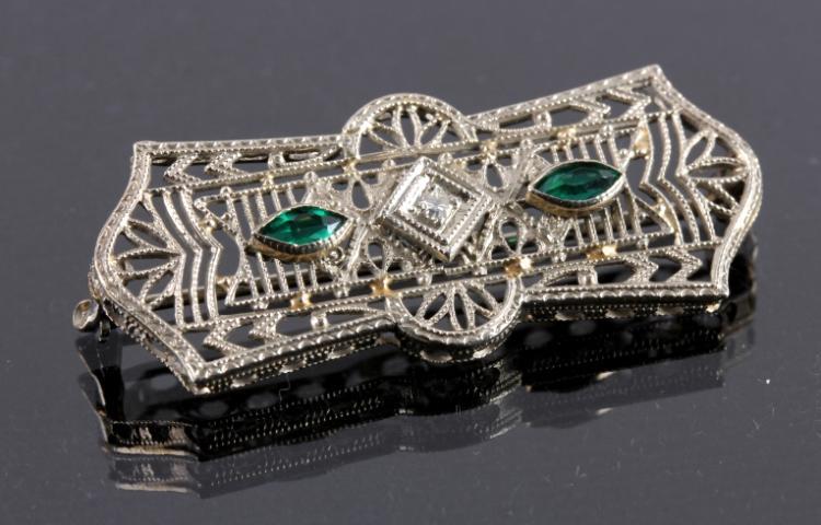 Antique Art Deco Gold Diamond Emerald Brooch