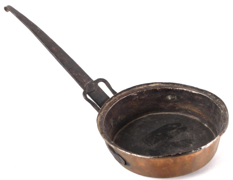 Copper Fry Pan With Ornate Forged Iron Handle