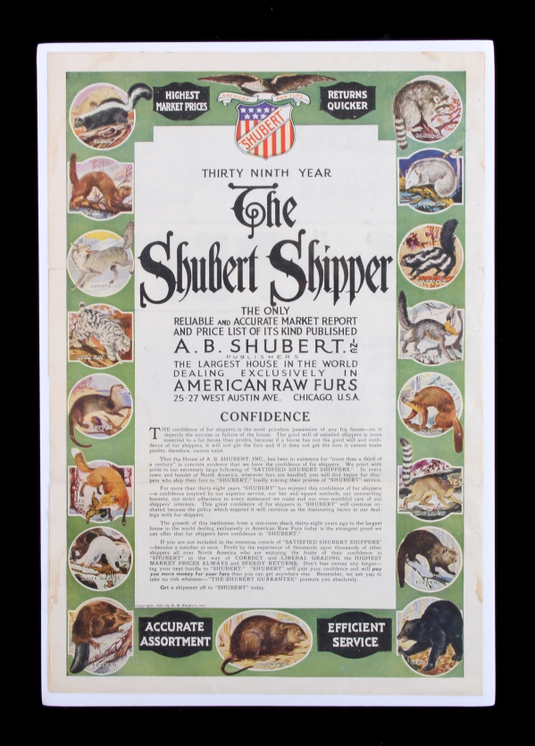 1921 Shubert Fur Advertising Poster