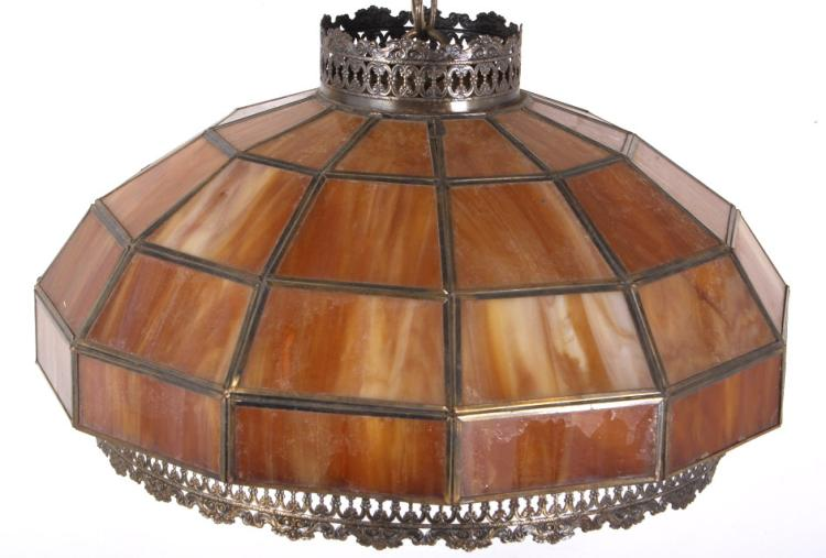 Antique Lead And Stained Slag Glass Hanging Lamp