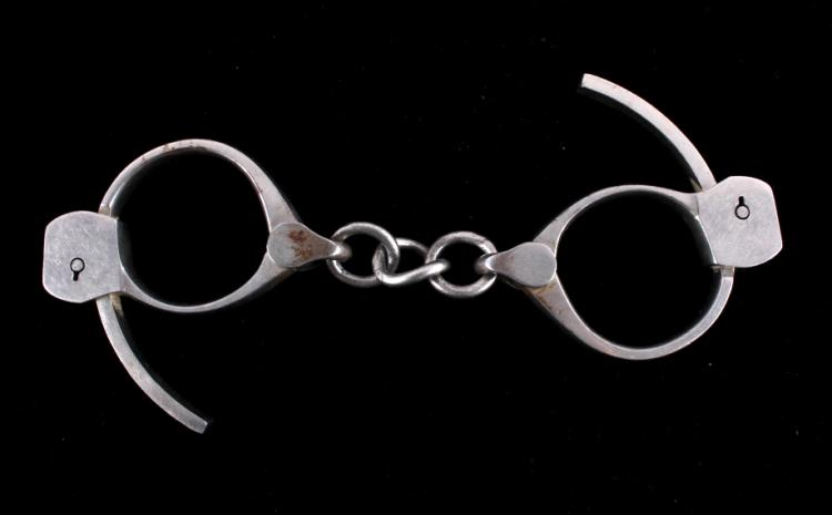 Antique 1920's Tower Detective Handcuffs