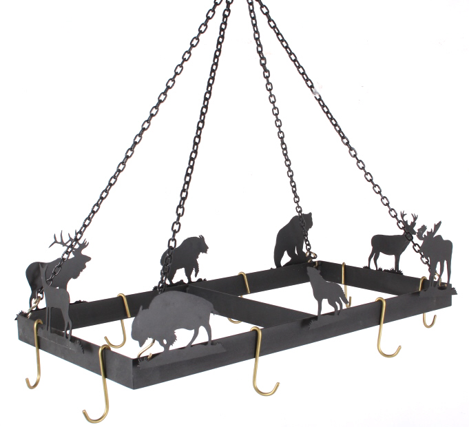Custom Western Hanging Animal Silhouette Pot Rack