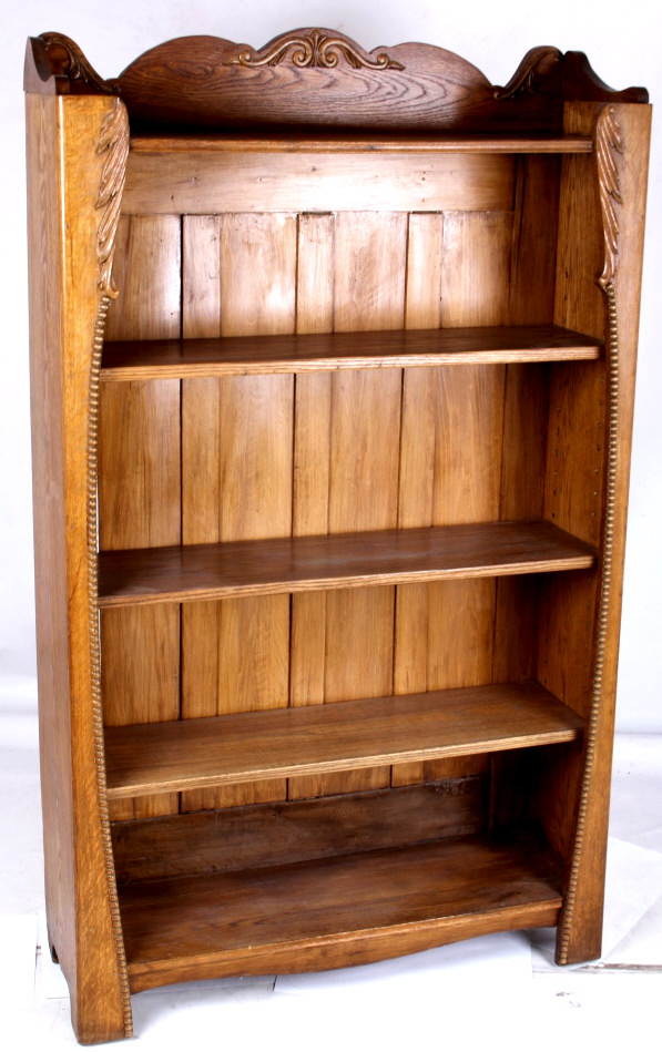 Antique Hand Carved Oak Book Shelf