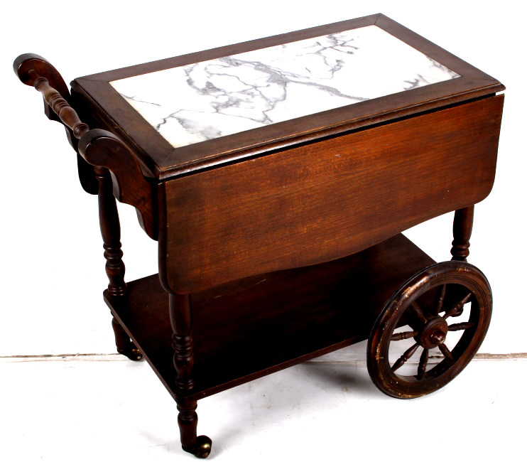 Antique Marble Top Rolling Tea Cart