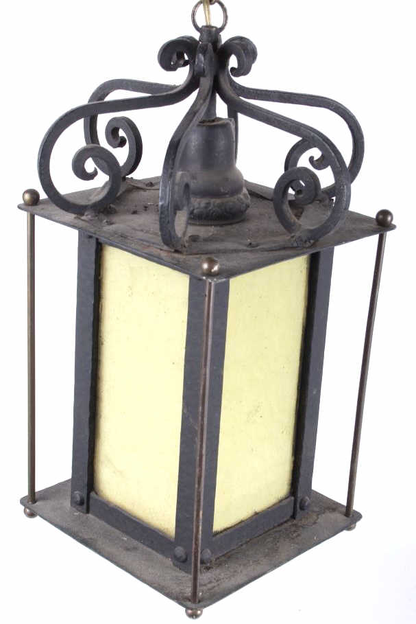 Custom Wrought Iron And Slag Glass Lamp