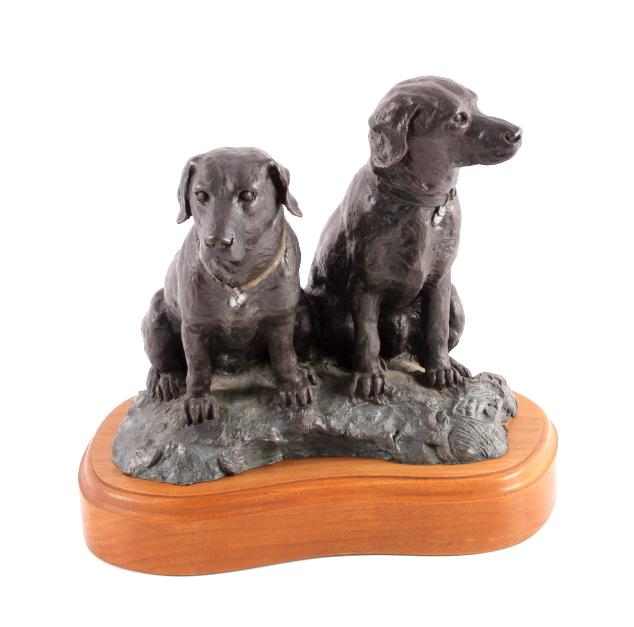 Original Joe Halko Hunting Dog Bronze Sculpture