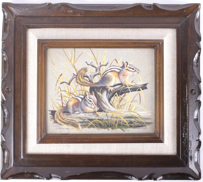 Elmer Sprunger Chipmunk Oil on Canvas