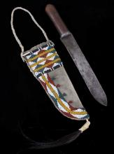 Sioux Beaded Sheath & 19th Century Trade Knife