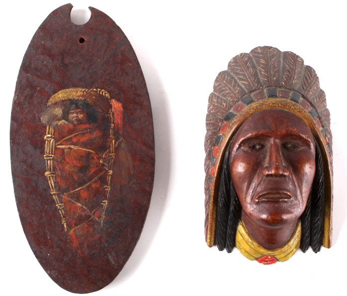 Hand carved and painted native american decor