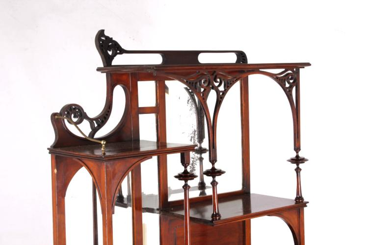 Art nouveau cherry wood etagere North american wood furniture