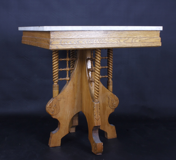 East lake style marble top oak parlor table 19th c for Th 37px60b table top stand