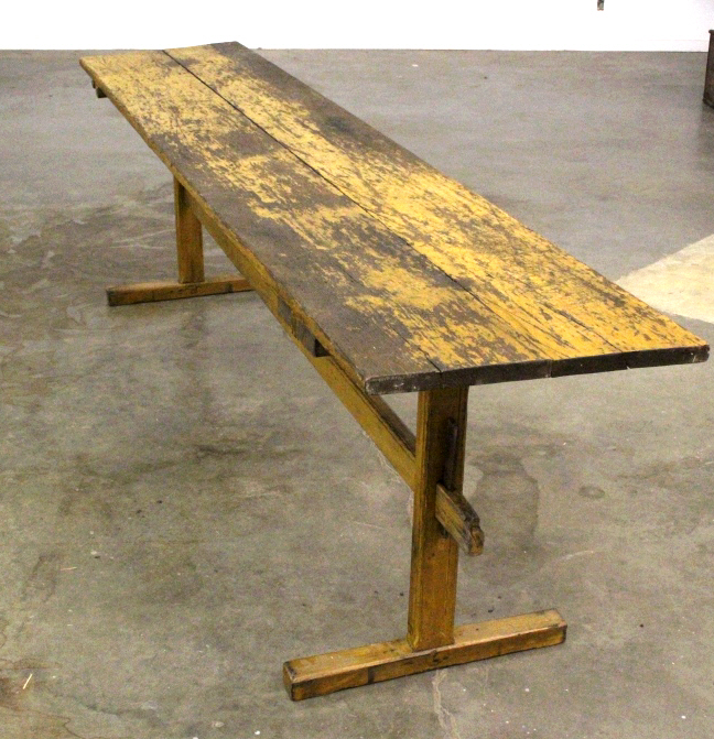 Primitive montana farmhouse wood long table early North american wood furniture