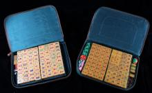 Pair Of Fine Mahjong Sets With Carrying Cases