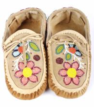 Chippewa Native Floral Beaded Leather Moccasins