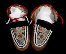 Iroquois Native Indian Beaded Leather Moccasins