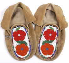 Plains Indian Beaded Leather Moccasins