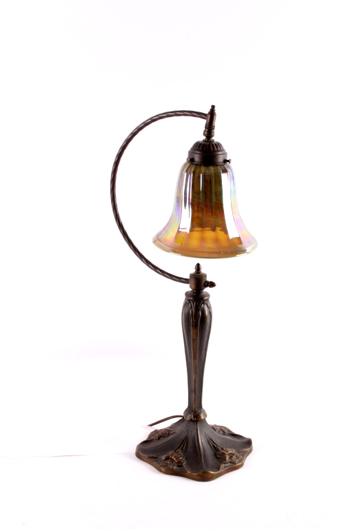 Antique Bronze Lamp With Carnival Art Glass Shade