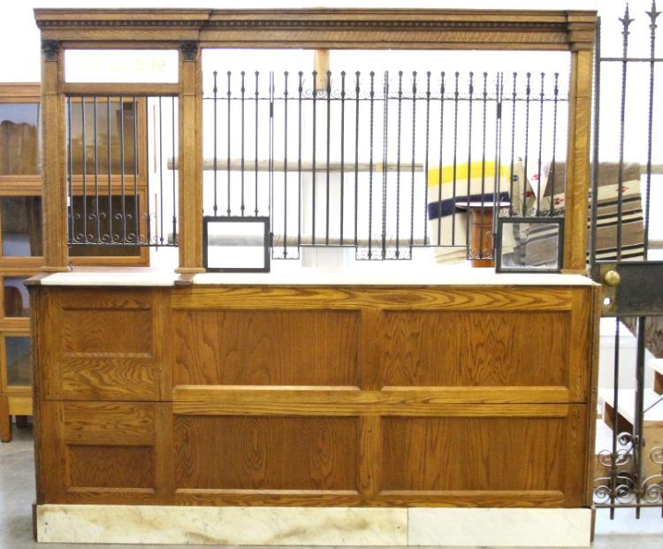 Early Oak Bank Teller Window Amp Counter C 1900