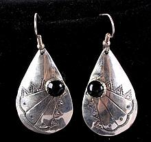 Navajo Sterling Silver & Black Onyx Earrings This