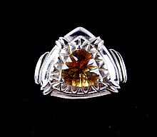 Yellow Topaz 10kt Gold Ring The ring is marked 10k