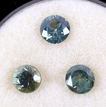 Montana Green to Blue Sapphire Round Stones (3) Th