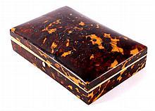 Tortoise Silver & Ivory Dresser Box circa 1800's T
