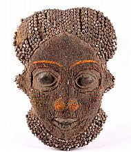 Congo Beaded Mask circa 1900's The piece shows a h