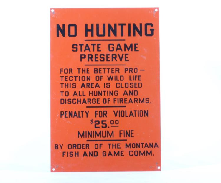 Original Early Montana Fish Game Commission Sign