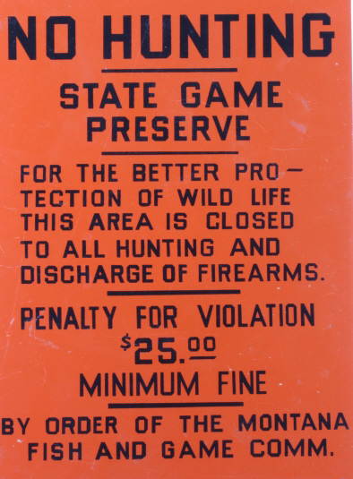 Original early montana fish game commission sign for Montana game and fish