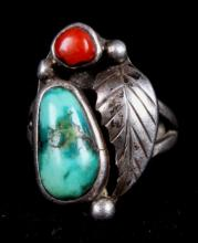 Sterling Silver Turquoise  Red Coral Navajo Ring T
