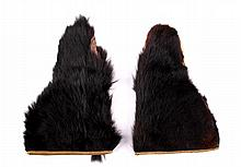 Black Bear Fur Gauntlet Gloves ca. early 1900's Th