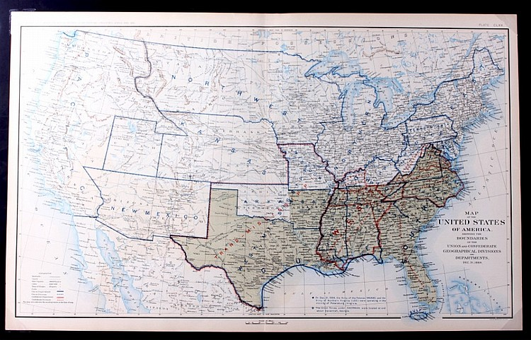 Usa Union Confederate Map By Julius Bien 1864 Th - Us-map-1864
