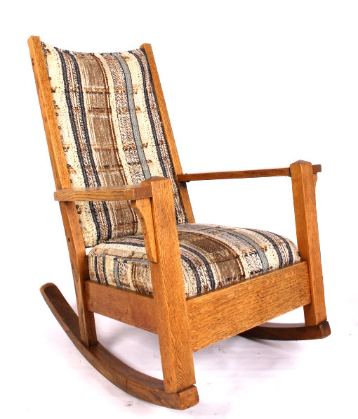 antique upholstered oak rocking chair. Black Bedroom Furniture Sets. Home Design Ideas