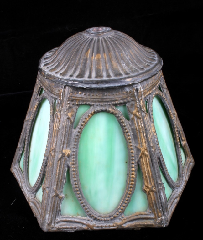 Antique Lead And Slag Glass Lamp Shade