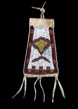 Ute Native American Beaded Strike-a-Lite Bag c1890