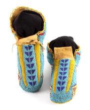 Lakota Sioux Fully Beaded Moccasins c. 1900