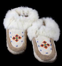Inuit Eskimo Hard Sole Beaded Fur Lined Moccasins