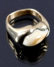 14K Gold & Montana Elk Ivory Ring
