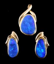 14K Gold Australian Boulder Opal Earring & Pendant