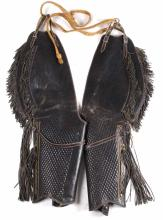 Early Mexican Black Leather Chaps Circa 19th C.