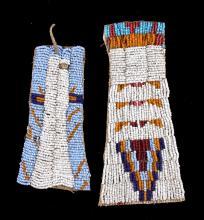 Plains Indian Beaded War Club Tabs c. 19th-20th