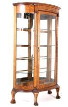 Tiger Oak Curved Glass Curio Cabinet 19th C. RARE