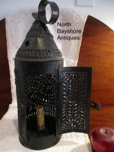 New England Punched Tin Early Lighting Painted Candle Lantern 1800s