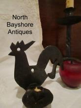 New England Sheet Metal Rooster Wall Hanging Candlestick Sconce 1800s