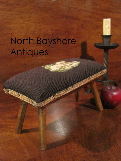 Folk Art Dog Design Needlework Cricket Stool 1800s