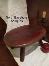 New England Paint Decorated Mortised Thru Cricket Stool Bench 1800s