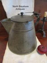 New England Shaker Massive Tin Community Kitchen Coffee Pot 1800s