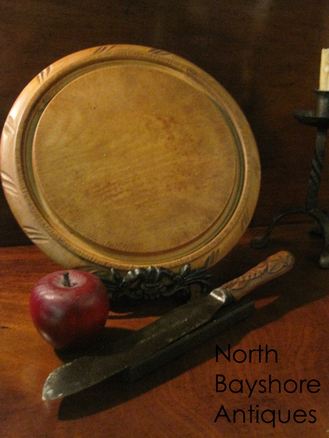 Carved Bread Board and Hallmarked Knife 1800s