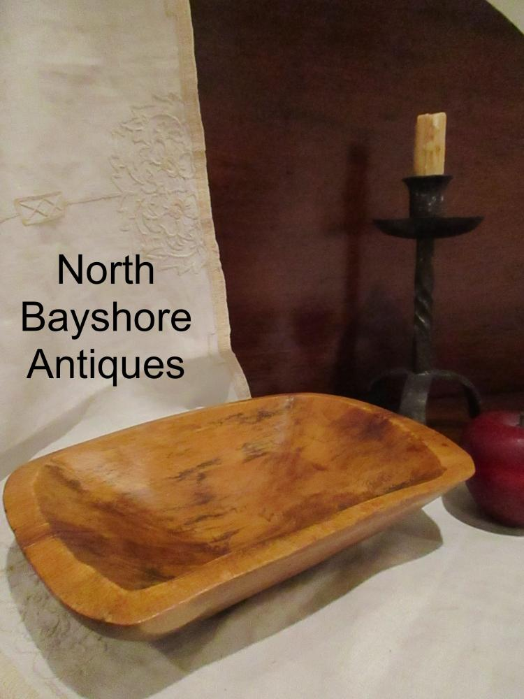 New England Hand Hewn Miniature Childs Wooden Trencher 1800s